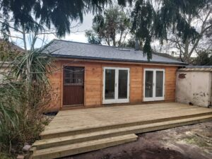 Decking completed on our Dawlish garden room/office project